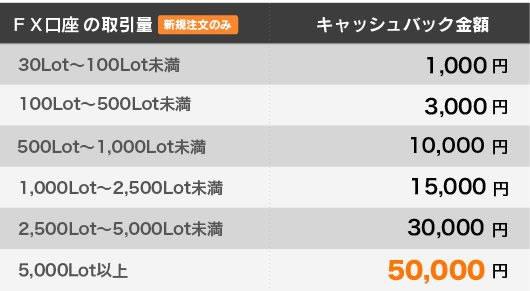 50000円キャッシュバックの条件